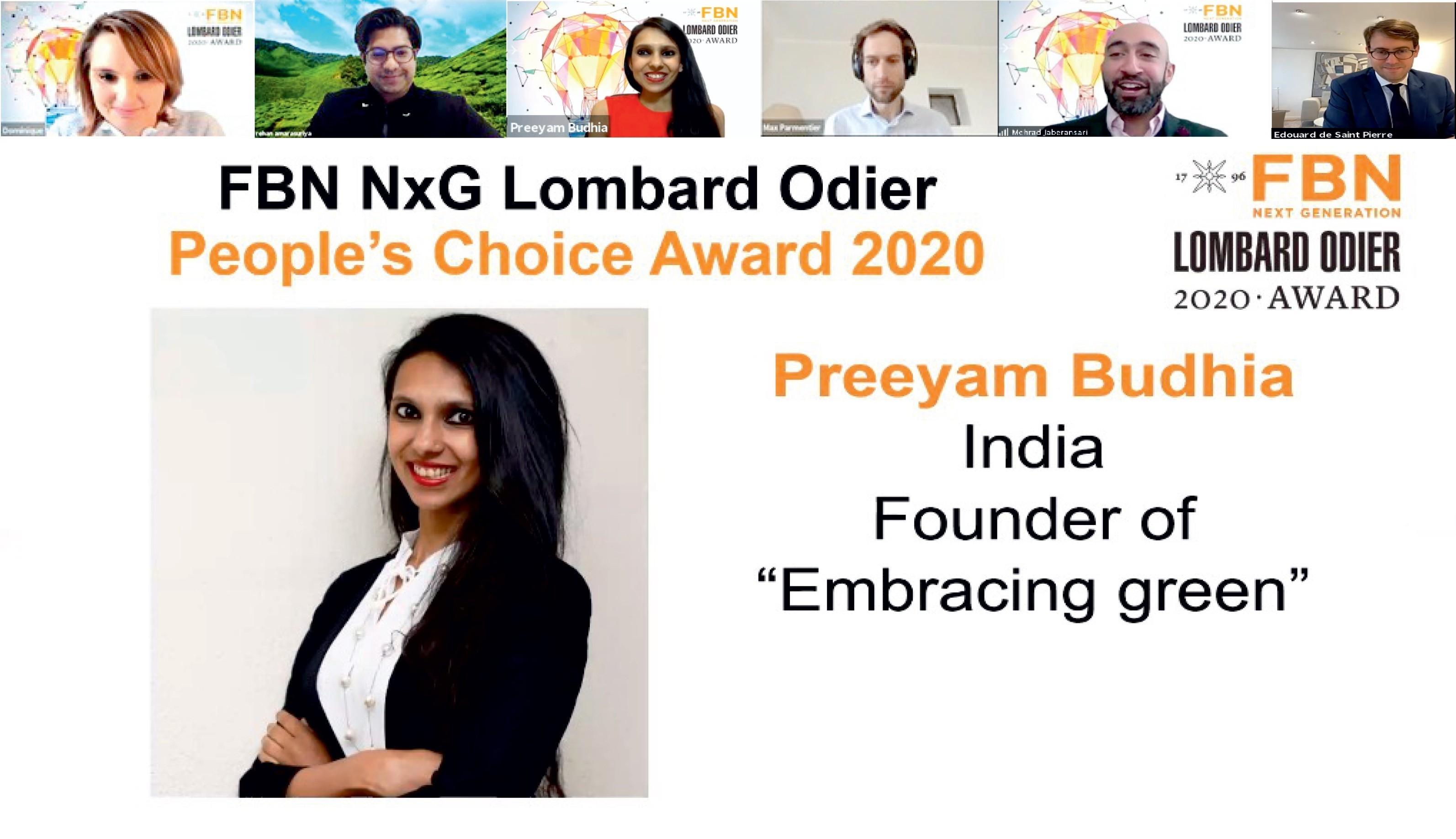 Preeyam Budhia Wins FBN Next Gen Lombard Odier People's Choice Award 2020